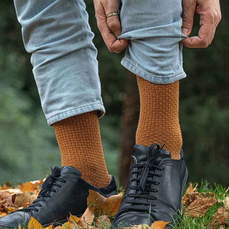 chaussettes moutarde homme