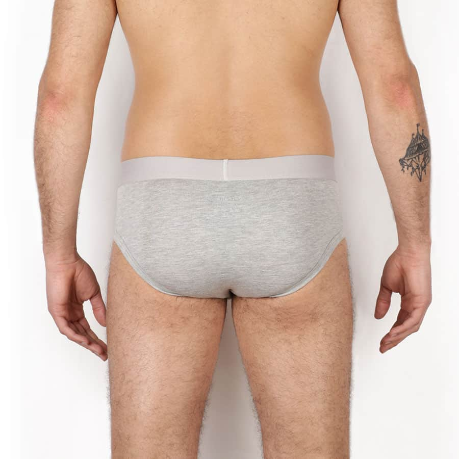 Slip homme taille basse dos gris chiné