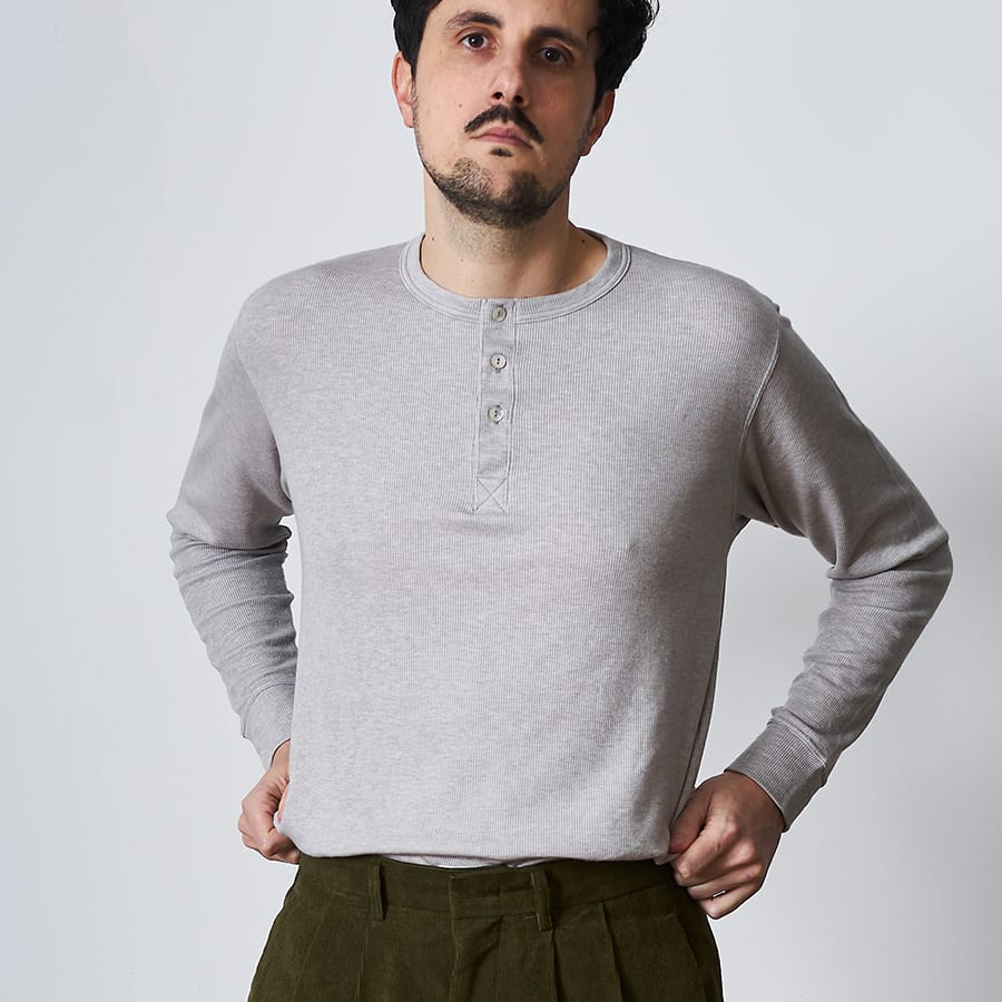 Henley col boutons hommes
